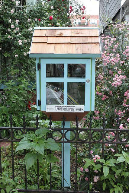 blue house little free library