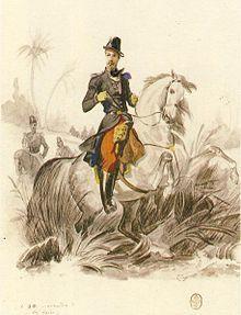 Aumale à cheval (1840) aquarelle de Philippoteaux - Nom de naissance: Henri Eugène Philippe Louis d'Orléans, né le 16 janvier 1822 à Paris, décès le 7 mai 1897 (à 75 ans) à Giardinello (Sicile). Père: Louis-Philippe I°, mère: Marie-Amélie de Bourbon-Siciles. Conjoint: Marie-Caroline de Bourbon-Siciles; enfants: Louis-Philippe d'Orléans, prince de Condé,-François d'Orléans, duc de Guise.