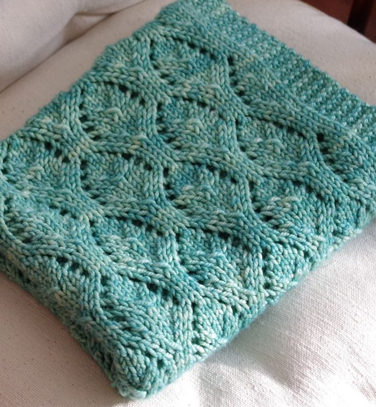 Free Knitting Pattern for Chalice Baby Blanket - This easy lace blanket was designed by Karen S. Lauger and rated easy by most Ravelrers. Pictured project by ClaudeandWilbur