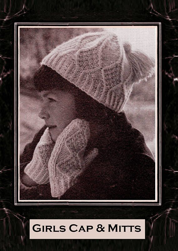 PDF Vintage Girls ARAN Hat & Gloves Knitting Pattern Tassel