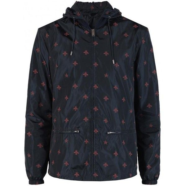 Gucci wasp print windbreaker jacket ($985) ❤ liked on Polyvore featuring men's fashion, men's clothing, men's outerwear, men's jackets, black, mens summer jackets, mens leopard print jacket, mens windbreaker jacket, mens embroidered jacket and gucci mens jacket