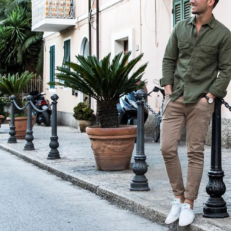Green military shirt pants and sneakers by @sandro  [ http://ift.tt/1f8LY65 ]