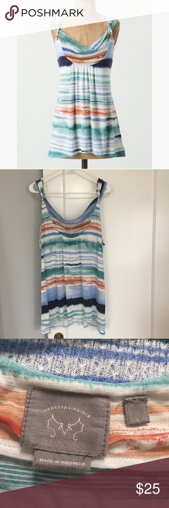Vanessa Virginia Anthro Sagebrush Striped Tank Cute striped tank with mesh detail on collar. In good condition! Anthropologie Tops Tank Tops