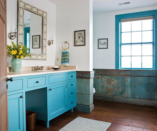 When this abandoned farmhouse was renovated, the homeowner kept the patina of the worn wood throughout the house by cleaning it and then sealing it with polyurethane: http://www.bhg.com/bathroom/type/master/every-style-master-suites/?socsrc=bhgpin052014charactercounts&page=13