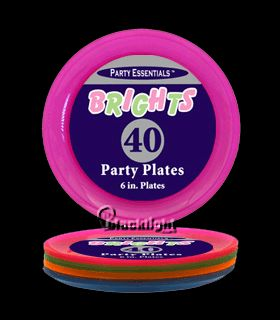 Assorted Neon Blacklight Reactive 6 Inch Sturdy Plastic Party Plates - 40 pack  sc 1 st  Pinterest & 75 best Blacklight Party Tableware and Serving images on Pinterest ...