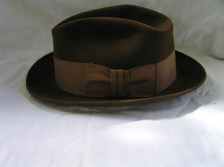 Dobbs Vintage Mens Hat 7 3 8 Brown Felt | eBay