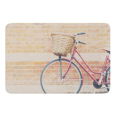 East Urban Home A Red Bicycle by Laura Evans Bath Mat