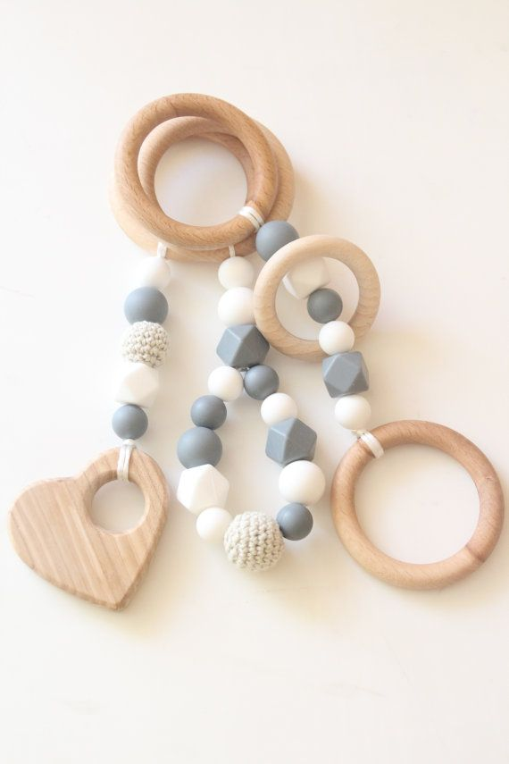 Baby gym toys / Set of 3 toys / Natural and stylish / Food grade silicone beads / Just toys liliana loayza
