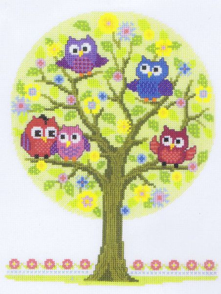 A brightly coloured picture of cartoon owls - ideal for a child's bedroom.