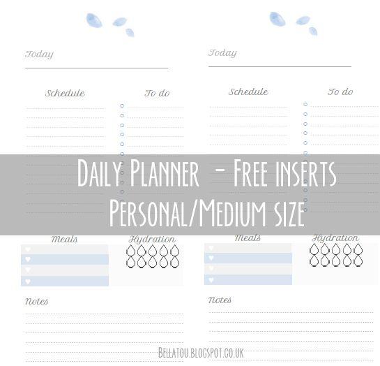Free Daily Planner inserts, medium/personal size. Kikki K, Filofax etc PDF file