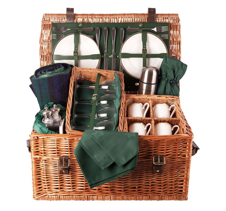 One of the hampers from our range of luxury picnic hampers The Balmoral Picnic Hamper is handmade in our workshop in England, can be purchased online and delivered globally.