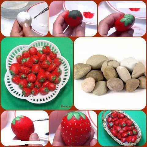 stenen schilderen - aardbei