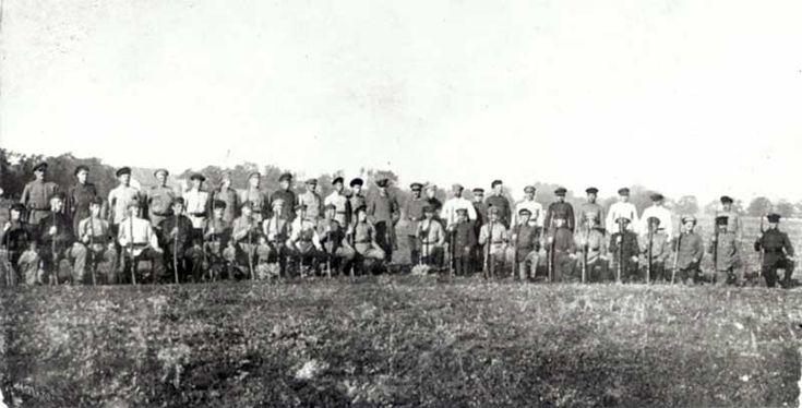 A Mennonite Selbstschutz unit photographed in the Ukraine, 1918