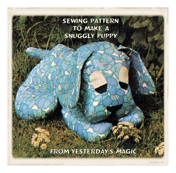 """Instant Download PDF Vintage Seventies Sewing Pattern to make a Little 7"""" Puppy Dog Bean Bag Squishy Soft Toy on Etsy, $3.50"""