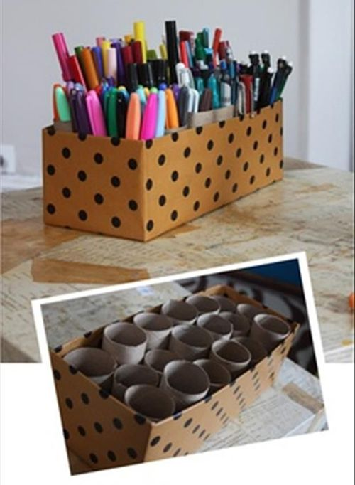 diy easy and useful container for paint brushes, markers, colored pencils