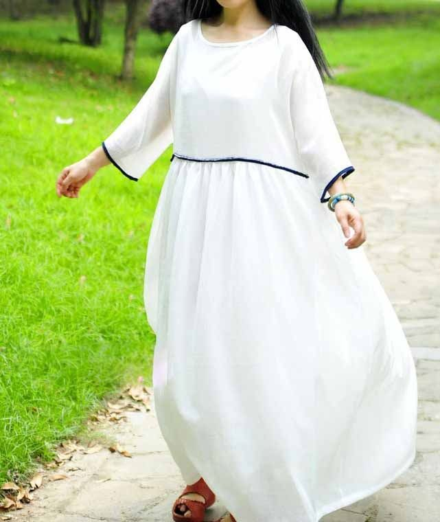plage grande de mariage de style robe lâche-blanc : Robe par buuki; would make this with less contrasting colours.