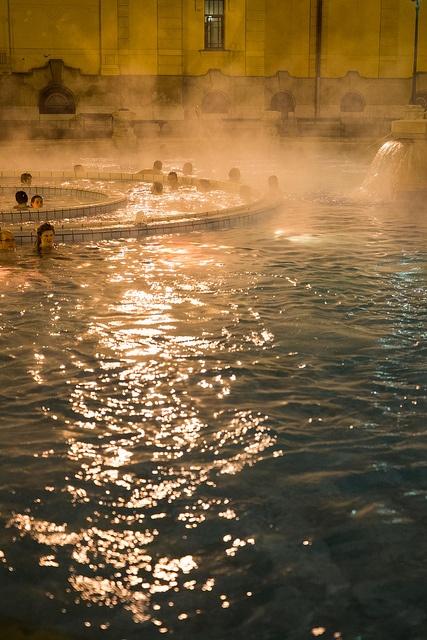 The Szechenyi Bath in Budapest, Hungary.