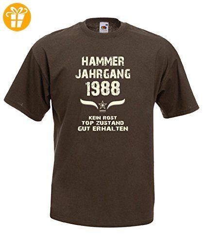 Zum 29. Geburtstag - Fun-T-Shirt Mega Cooles Männer-Oberteil als Geschenk mit Gratis Urkunde Hammer Jahrgang 1988 Farbe: braun Gr: 4XL (*Partner-Link)