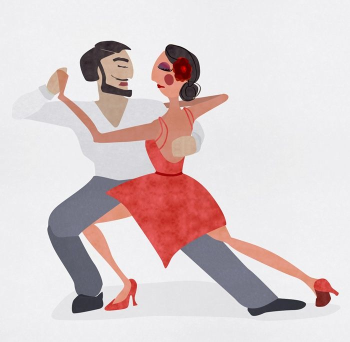 An illustration of couple dancing
