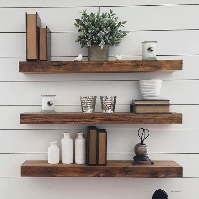 Stylish Kitchen 7 Natural Wood Floating Shelves Ideas Floating Shelves Kitchen Floating Shelves Living Room Floating Shelves