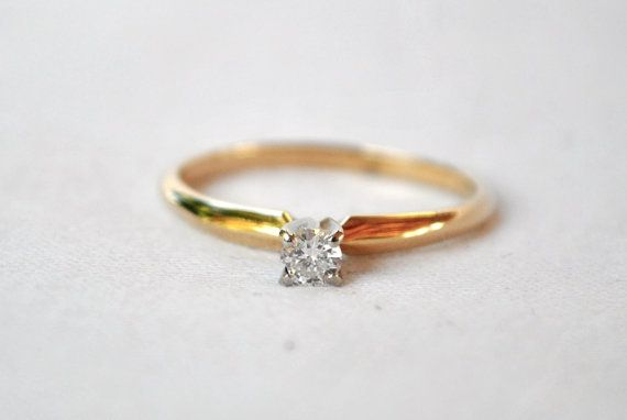 Tiny Gold Solitaire Diamond Ring  Engagement by LuckyLittleFinds, $300.00