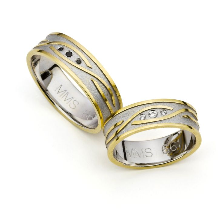 Multicolour Golden Wedding Rings with  White and Black Zirconia