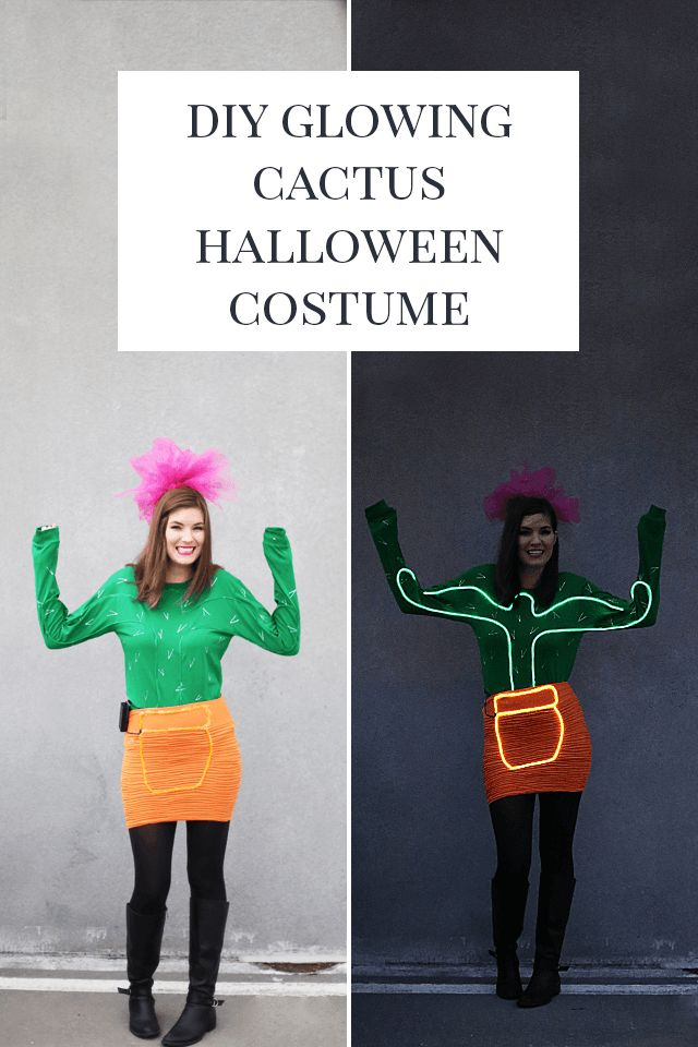 DIY Neon Light Up Cactus Halloween Costume - This glowing homemade costume is bound to be the life of the party!  . . . . . #cactus #cactuslover #cactusclub #halloween #halloween2017 #diy #diyhalloween #diyproject #diyfashion #costume #costumeparty #costu