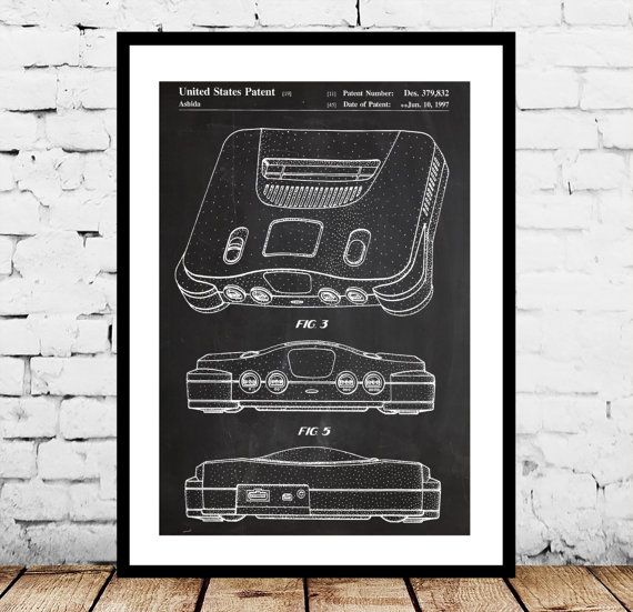 Nintendo 64 Poster Nintendo 64 Patent by STANLEYprintHOUSE on Etsy