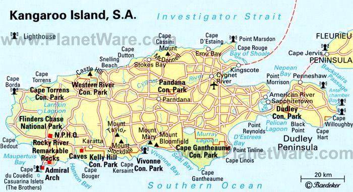 Kangaroo Island map - South Australia state, Australia