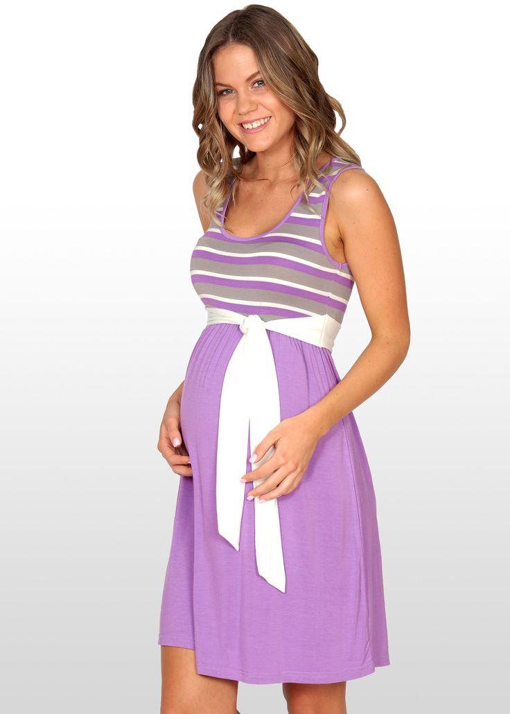 Mauve Striped Maternity Dress www.dressmybump.net www.facebook.com/dressmybumpau