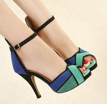 Mujer sandalias 2015 Sexy zapatos de tacones altos bombas tobillo sandalia Patchwork diseñador zapatos de plataforma mujer sandalias Sapato Feminino(China (Mainland))