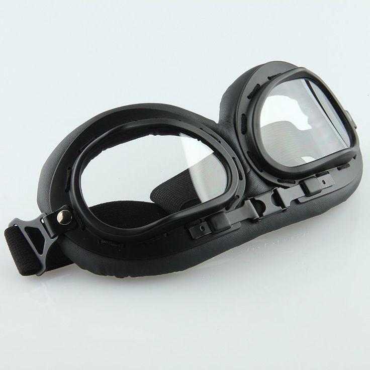 Black Retro Flying Aviator Motorcycle Bike Racing Goggles Dust Windproof Glasses