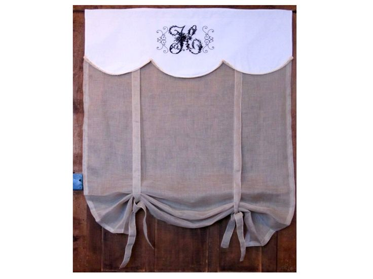 """Bedroom Curtain, Custom Sheer Roller Shade, Bathroom Tie up Panel, 66"""" Length, Ecru French Linen Window Curtain, by HatchedinFrance on Etsy https://www.etsy.com/listing/221302275/bedroom-curtain-custom-sheer-roller"""