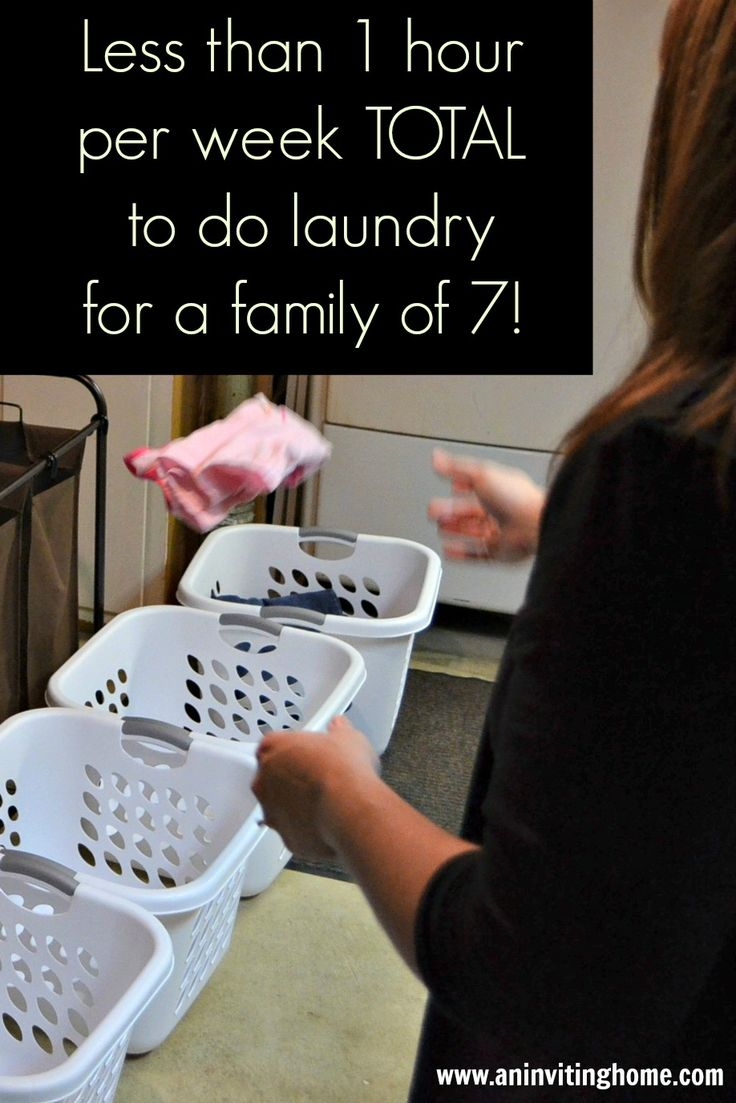 Less Than 1 Hour Per Week TOTAL To Do Laundry For A Family Of 7! www.aninvitinghome.com  Idk if I can let go of having clothes that aren't wrinkled so I do have to fold laundry.... Hmmmm guess I'll think and pray about it!