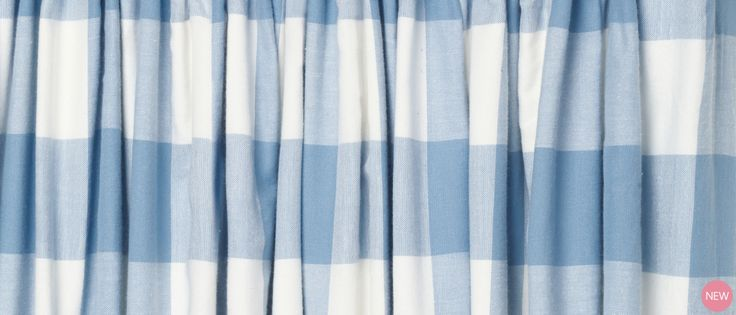Oxford Check Blue Ready Made Curtains at Laura Ashley