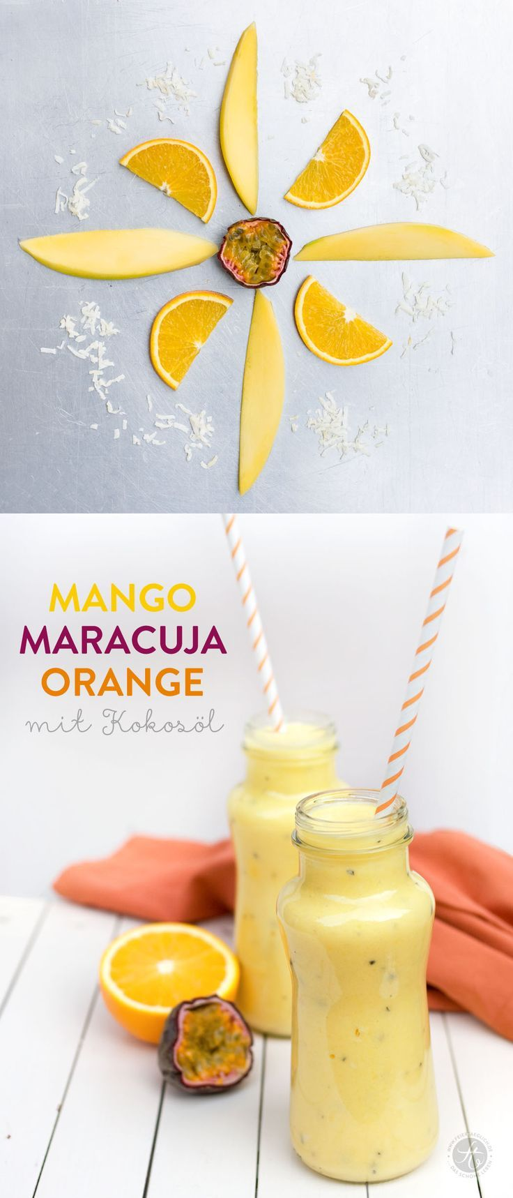 #SmoothieMontag Mango-Maracuja-Orange Smoothie mit Kokosöl