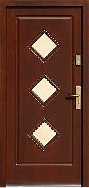 Drzwi zewnętrzne drewniane wzór 683,1 w kolorze orzech ciemny