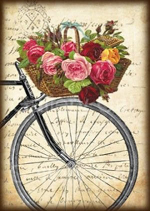 Antique Bicycle with Basket of Roses Digital Collage por GalleryCat