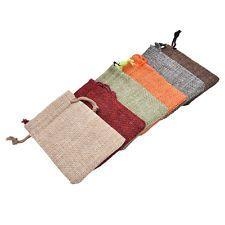 10 Linen Jute Hessian Sack Jewelry Pouch Drawstring Bags Wedding Favour ITBU