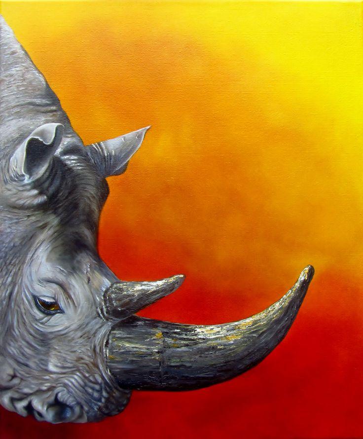 PRECIOUS - White rhino, 50x60