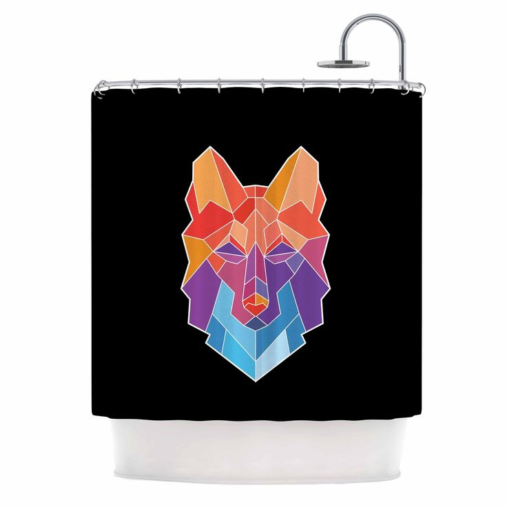 "Kess InHouse Draper ""Prism Wolf"" Orange Purple Shower Curtain"