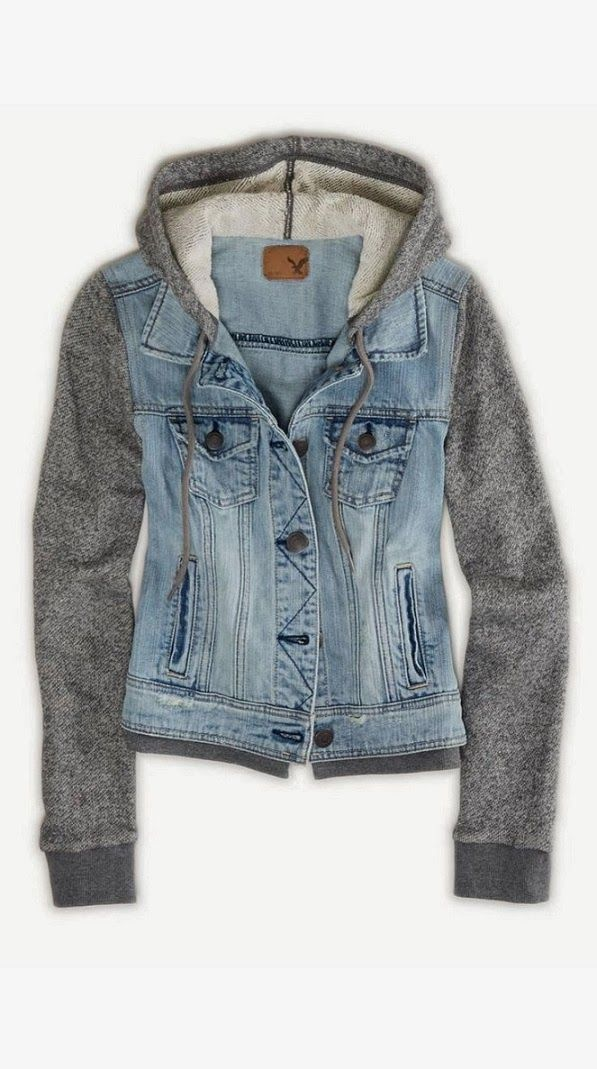 Comfy and Cozy Denim Hoodie AEO.com// needs some cute chucks too