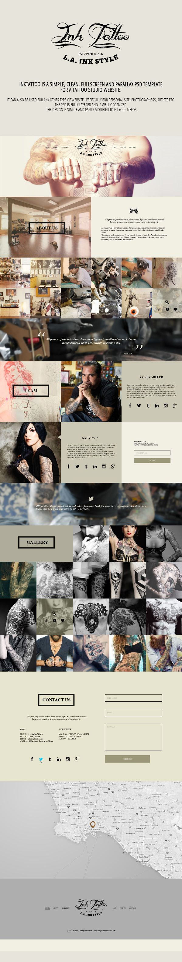 InkTattoo - Free .Psd One Page Template
