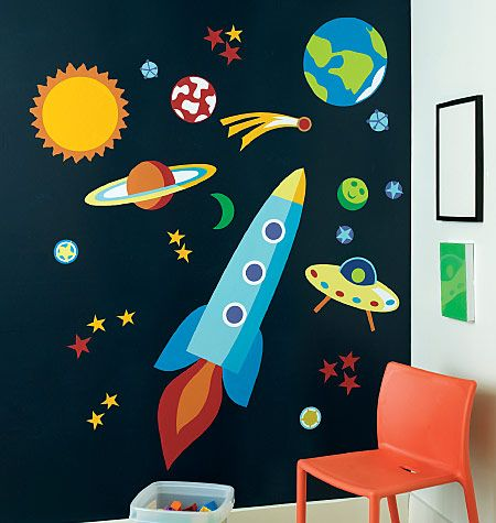 Outer space wall mural planets rockets galaxy wallpaper for Outer space room design