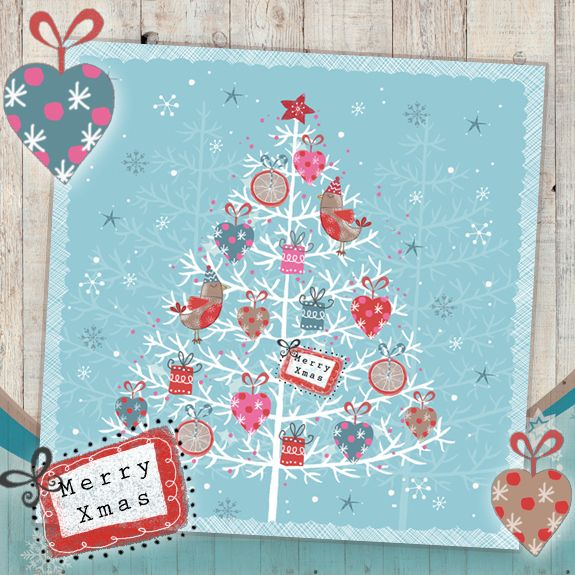 Christmas Tree on Blue. This exclusively designed Christmas card is printed on matt-textured board, with added flitter.