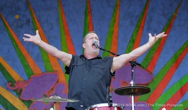 Fred LeBlanc of Cowboy Mouth gets the crowd revved up during the first day of the New Orleans Jazz Fest at the Fair Grounds Friday, April 22, 2016.