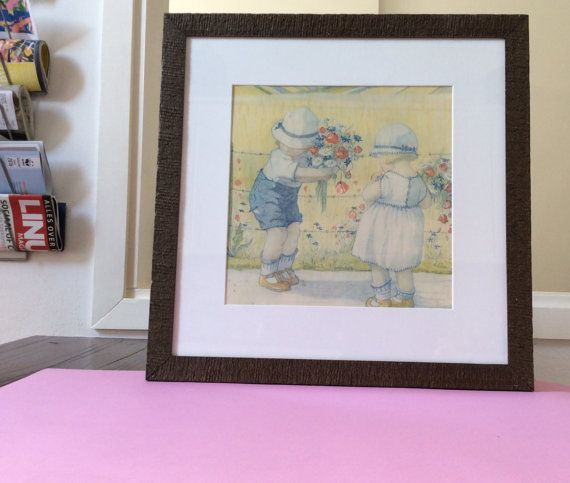 Oude kwekerij afdrukken, lithografie in pastel kleuren, vierkant, met schattige kinderen, pastel wand decor, kinder kamer decoratie, wanddecoratie