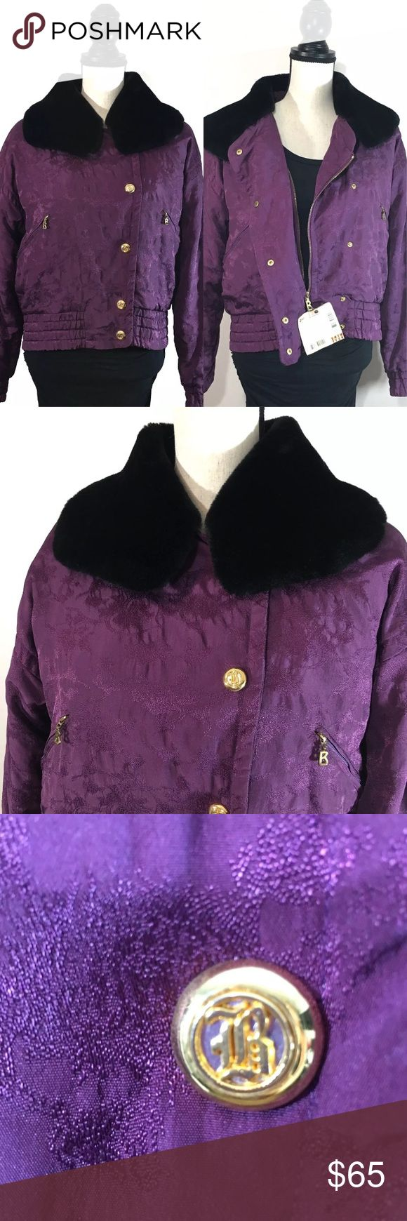 "VTG 90's BOGNER Ski Floral Purple Faux Fur Jacket PRISTINE CONDITION • Bogner Purple Full Zip Jacket Coat - 90's Ski Fashion! *Attached ""Vail Valley"" Colorado Ski Pass! * Size 6 (Small) * Bogner purple floral * Black faux fur collar * Gold tone hardware * Cropped fit * ""B"" Bogner & Snowflakes embroidered * Lined & insulated * Inner pocket * Shell: 100% Nylon-Poly * Lining: 100% Acrylic & 100% Nylon  * EXCELLENT pre-owned condition! No sign of wear. Ready to Wear!   Measures: * Bust- 46""…"