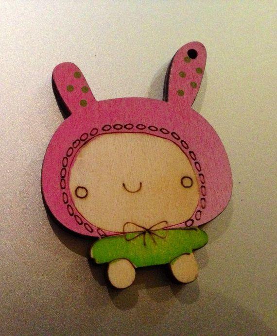 Brooch Bunny in beanie by KatieHootie on Etsy, $8.00