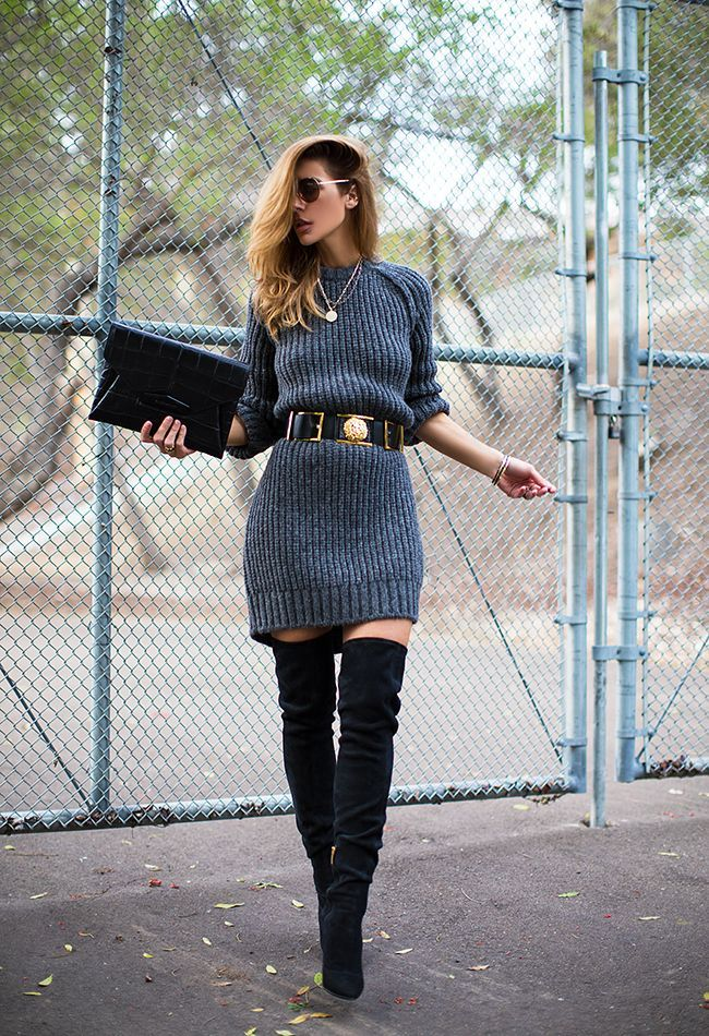 A simple sweater dress, a great belt and awesome boots - you'll have the world at your feet,